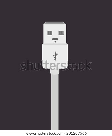 USB design over gray background, vector illustration