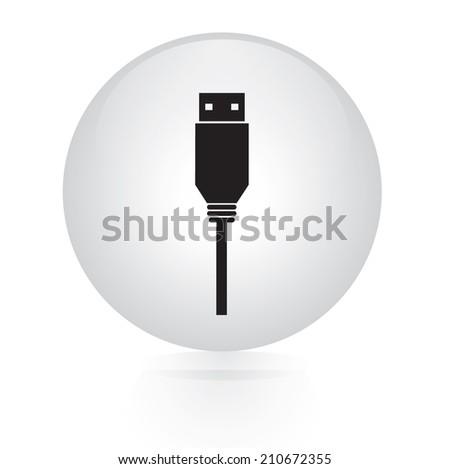 usb flash drive button web icon - stock vector