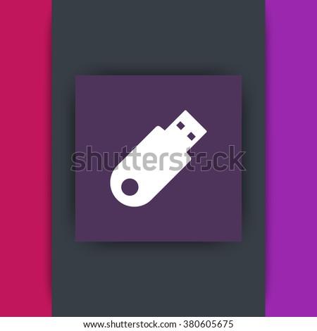 usb flash drive flat square icon, data backup icon, vector illustration - stock vector