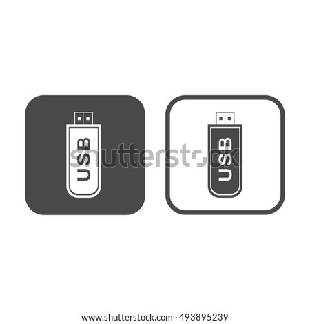 USB flash drive icon vector illustration. Gray and white