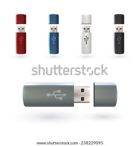 USB flash drive portable data devices set realistic decorative icons isolated vector illustration - stock vector