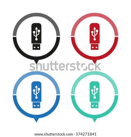 usb flash drive - vector icon; map pointer;  message bubble - stock vector