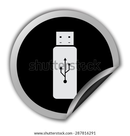 usb flash icon - round vector sticker