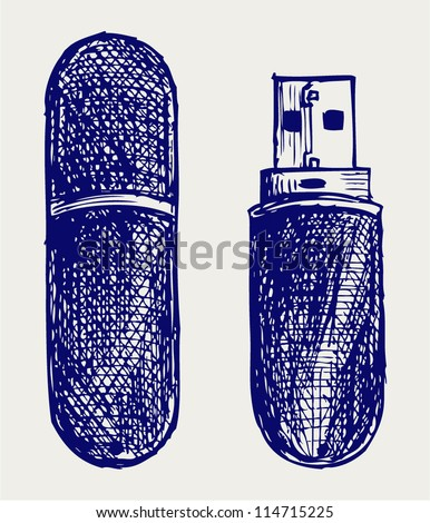 Usb flash memory. Doodle style - stock vector