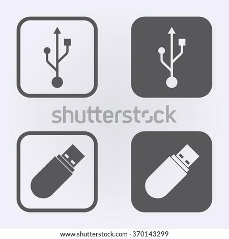 Usb icon set . Vector illustration - stock vector