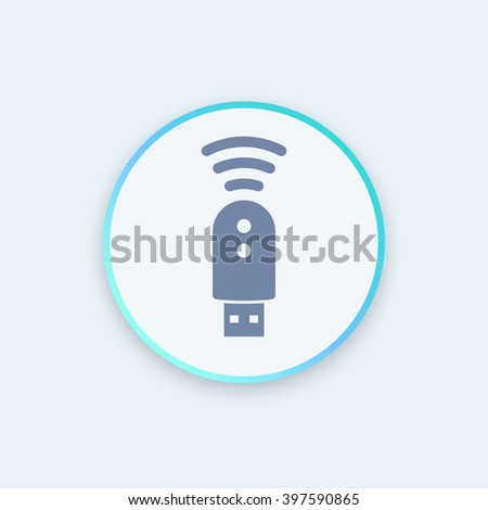 usb modem icon, 4g, lte modem pictogram, modern round icon, vector illustration - stock vector