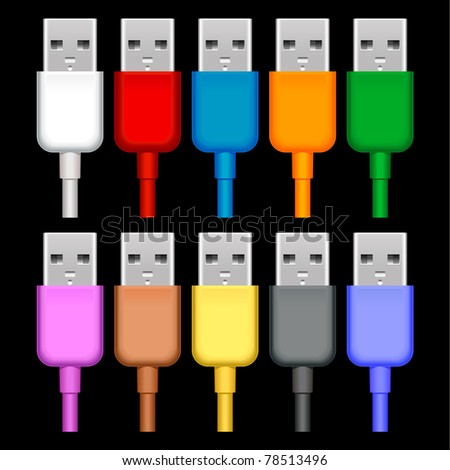 usb plugs with cord isolated on black background - stock vector