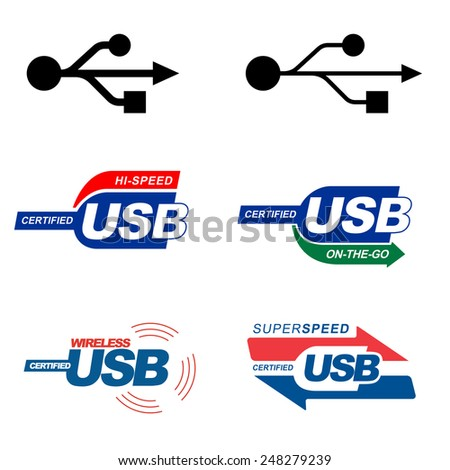 USB standard and certificate logos:  high speed, super speed, on-the-go, wireless. Vector emblems - stock vector