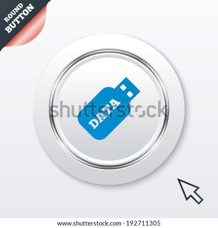 Usb Stick sign icon. Usb flash drive button. White button with metallic line. Modern UI website button with mouse cursor pointer. Vector