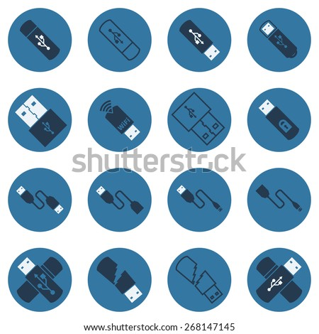 USB vector flat icons - set of dark blue cables and usb flash drives symbols - stock vector