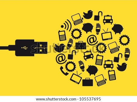 usb with icons over yellow background. vector illustration - stock vector