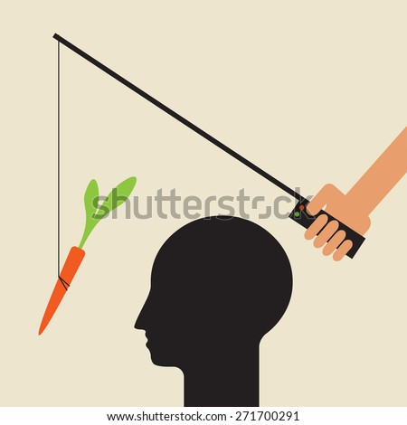 use a sweet carrot stimulus to divert  attention - stock vector