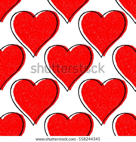Use it in all your designs. Sketch drawing seamless pattern with red heart sign with black line contour. Quick and easy recolorable shape. Vector illustration a graphic element.