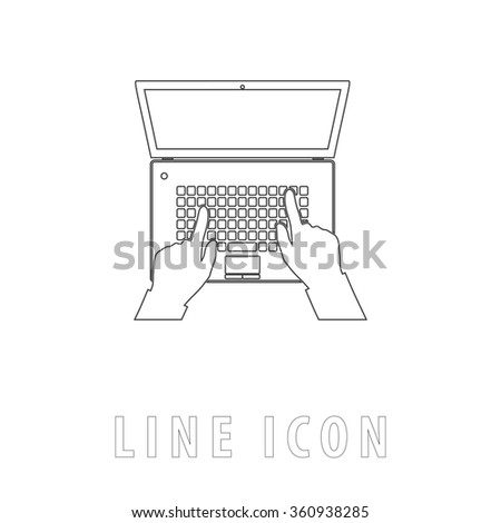 use laptop Outline simple vector icon on white background. Line pictogram with text  - stock vector