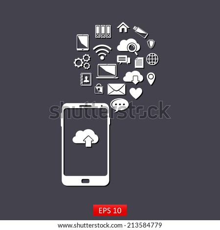 Use of cloud computing storage and applications on a mobile phone ,white icons cloud computer wireless e-mail search - stock vector