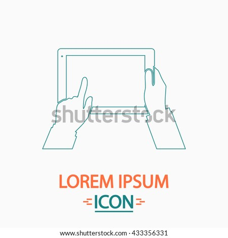 Use Tablet Flat thin line icon on white background. Vector pictogram
