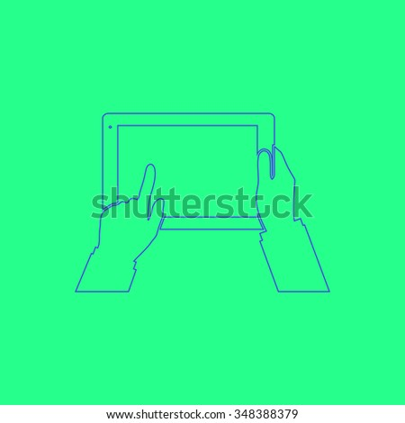 Use Tablet Simple outline vector icon on green background