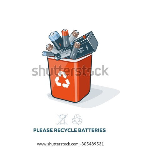 Used batteries in red recycling trash bin in cartoon style. E-waste separation management concept. - stock vector