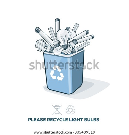 Used light bulbs in blue recycling trash bin in cartoon style. E-waste separation management concept. - stock vector