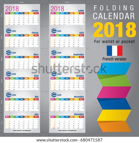 Useful Foldable Calendar 2018 Colorful Template Stock Vector 2018
