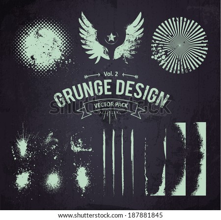 Useful grunge design elements. Vector set part 2. - stock vector
