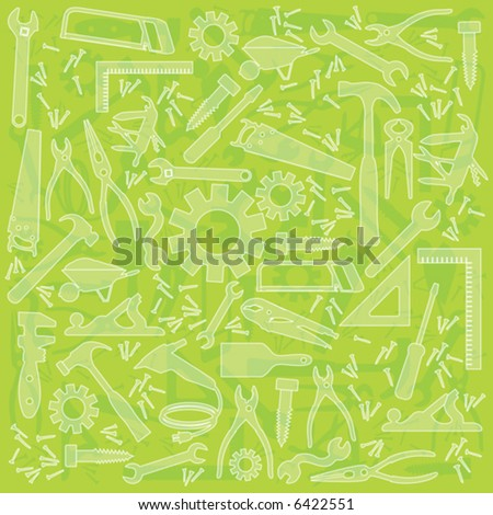 Useful work tool lime green background; Multiple work tools outlined; no transparency used; easy-edit color change. - stock vector