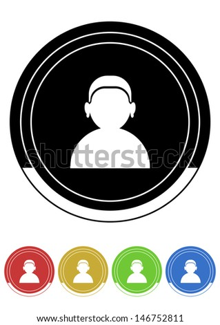 User button retro colors - stock vector