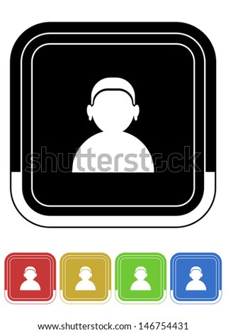 User button retro colors square - stock vector