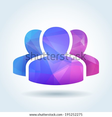 User community icon with triangle abstract pattern - stock vector
