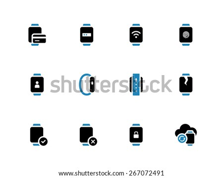 User credit card information in smart watch icons on white background. Vector illustration.