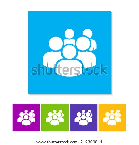 User group network icon. Flat icon with long shadow. Orange, purple, magenta, violet, yellow, green and blue color buttons - stock vector
