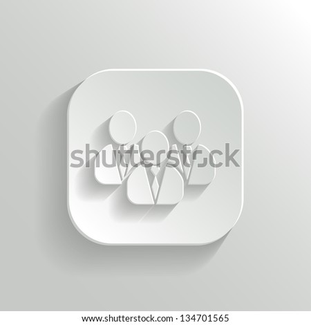 User group network icon - vector white app button with shadow - stock vector