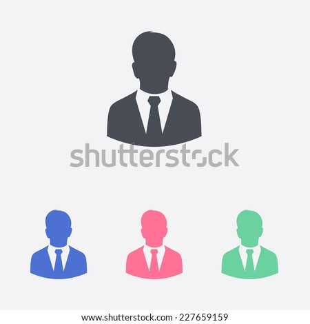 User icon of man in business suit. - stock vector