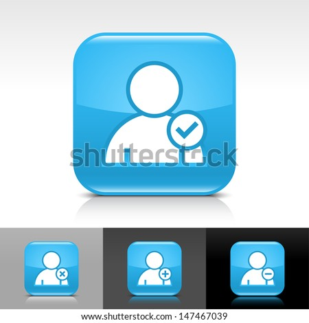 User icon set. Blue color glossy web button with white sign. Rounded square shape with shadow, reflection on white, gray, black background. Vector illustration design element 8 eps  - stock vector