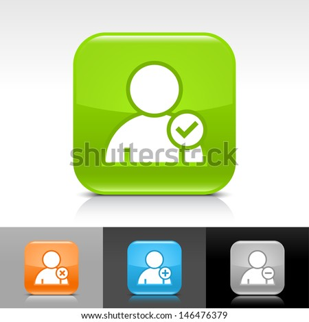 User icon set. Blue, orange, green, gray color glossy web button with white sign. Rounded square shape with shadow, reflection on white, gray, black background. Vector illustration element 8 eps  - stock vector