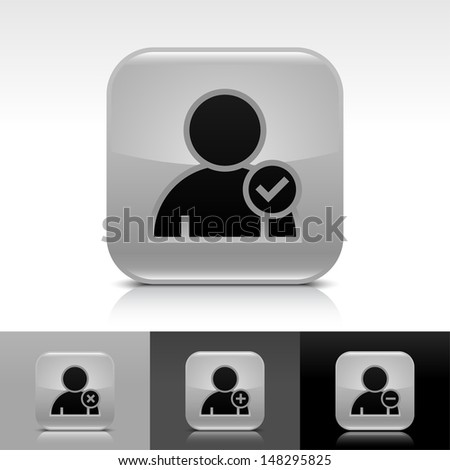 User icon set. Gray color glossy web button with black sign. Rounded square shape with shadow, reflection on white, gray, black background. Vector illustration design element 8 eps  - stock vector