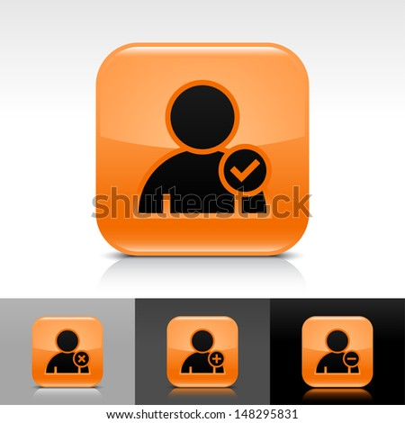 User icon set. Orange color glossy web button with black sign. Rounded square shape with shadow, reflection on white, gray, black background. Vector illustration design element 8 eps  - stock vector