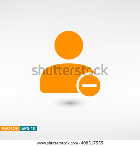 User icon vector eps 10. Orange User icon with shadow on a gray background. - stock vector