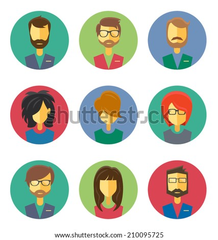 User Icons and People Icons in flat style - stock vector