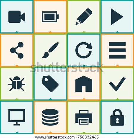 User Icons Set With Pencil, Monitor, Label And Other Done  Elements. Isolated Vector Illustration User Icons.