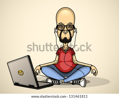 User in red shirt and sunglasses with a laptop meditates - stock vector