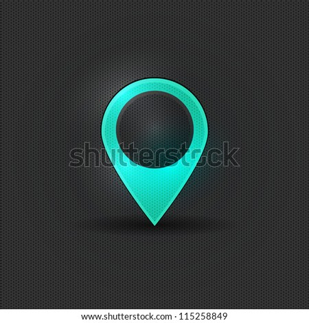 User interface blue map marker - stock vector