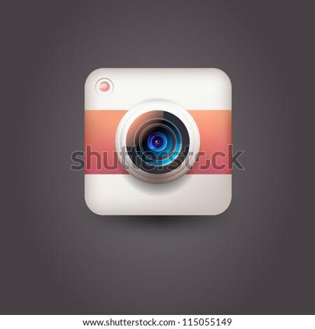 User interface camera lens icon - stock vector