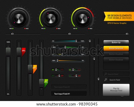 User Interface Design Elements | EPS10 Vector Graphic | Layers Organizes and Named | The Detailed Noise Texture is Easily Removable if it's Render Heavy - stock vector