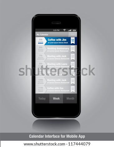 User interface design for smartphone in editable vector format