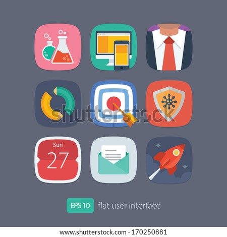 User interface flat icons set - stock vector