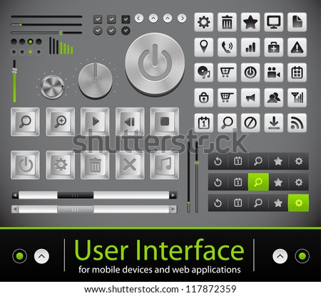 User interface for mobile devices and web applications. Metal icons