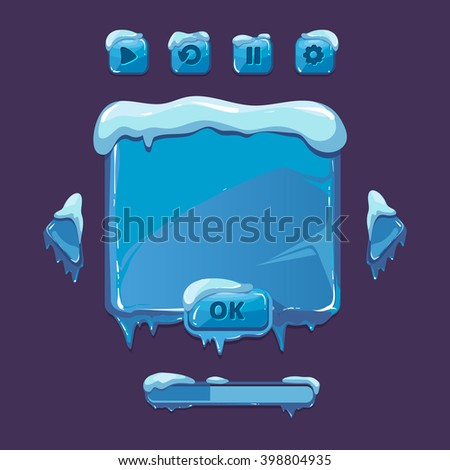 User interface for winter game. UI elements with icicles ice snow. Button gui. Vector illustration - stock vector