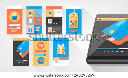 User interface shopping set for smartphone and mobile with icons set - stock vector