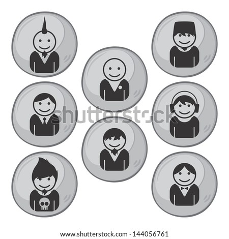 user picture man set - stock vector